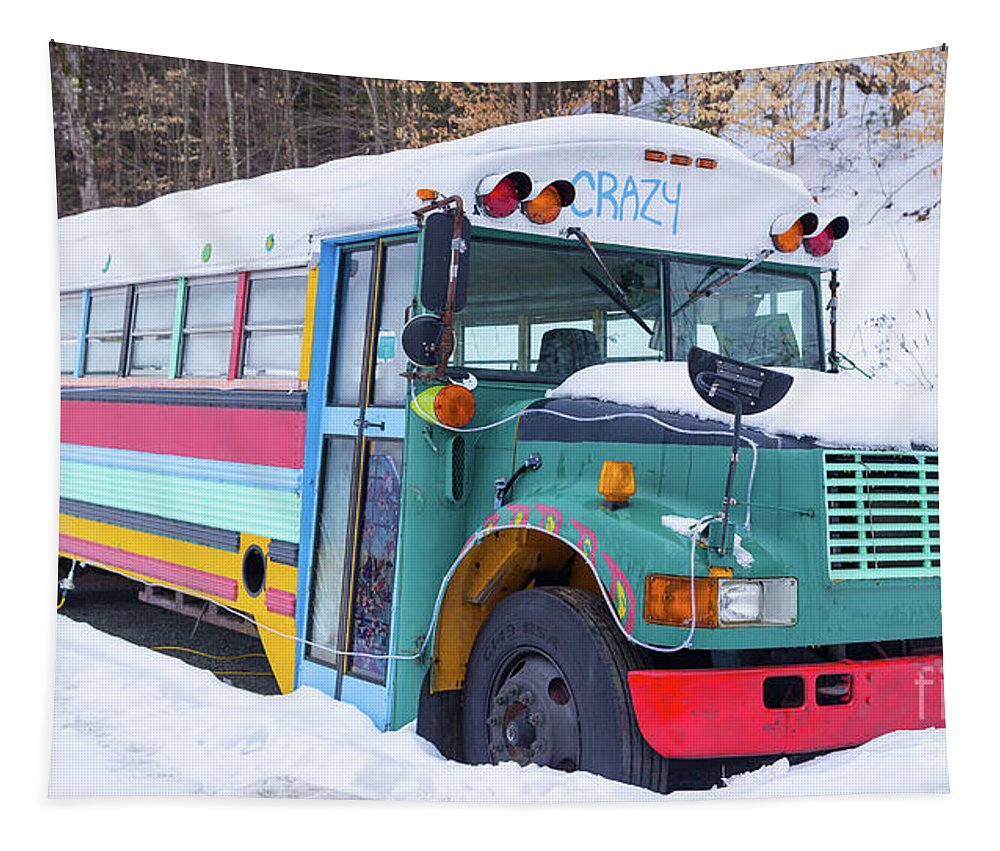 Hippy Tapestry featuring the photograph Crazy Painted Old School Bus In The Snow by Edward Fielding