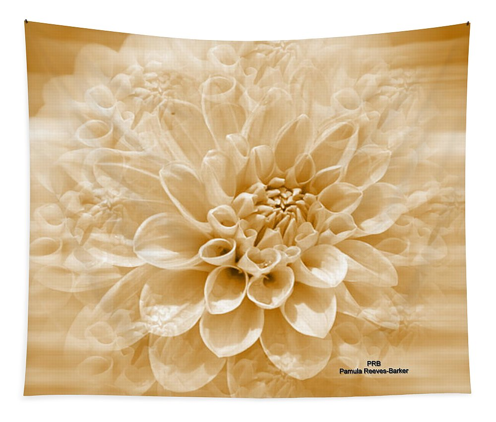 Flower Tapestry featuring the mixed media Cream Floral by Pamula Reeves-Barker