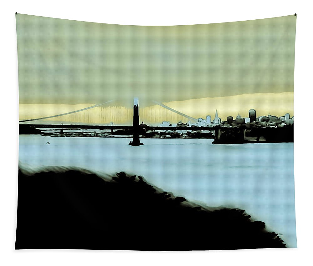 Cream Tapestry featuring the photograph Creamy Blue Sunset Sf Gate by Heather Joyce Morrill