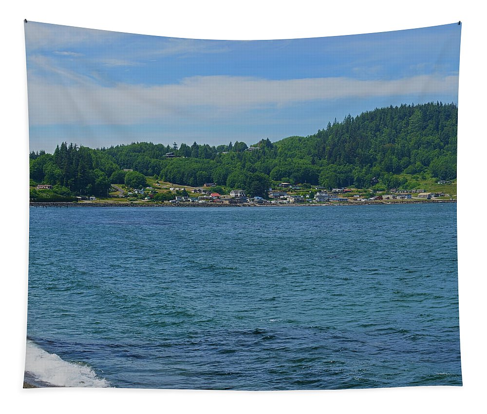 Beach Tapestry featuring the photograph Crescent Beach Center Panoramic by Tikvah's Hope