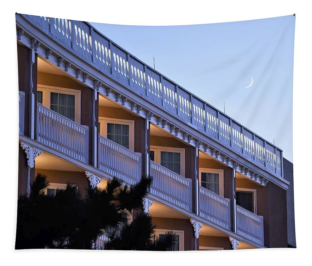 Boardwalk Plaza Tapestry featuring the photograph Crescent Moon Over The Boardwalk Plaza Hotel by Kim Bemis