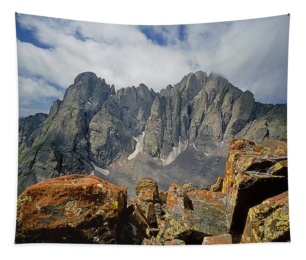 Crestone Needle Tapestry featuring the photograph 210925-crestone Needle And Peak by Ed Cooper Photography