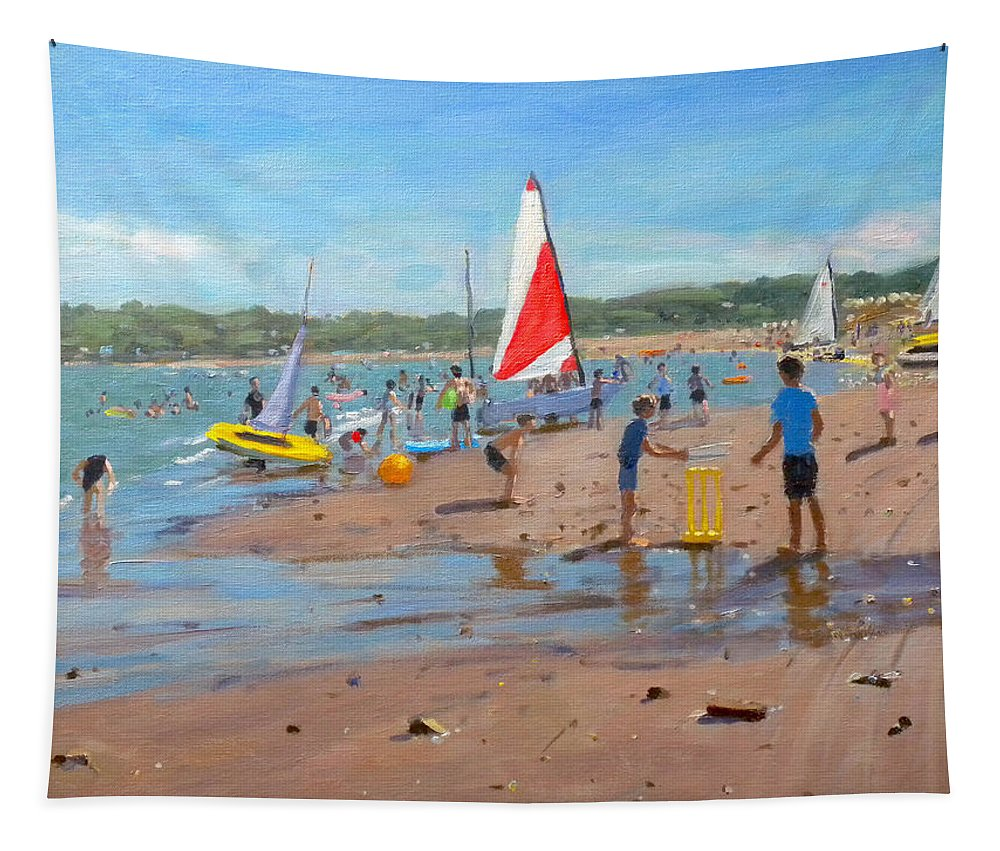 Cricket Tapestry featuring the painting Cricket And Red And White Sail by Andrew Macara