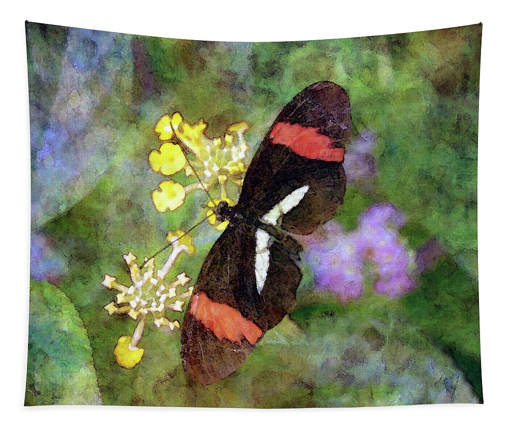 Crimson Longwing Butterfly Tapestry featuring the photograph Crimson Longwing Butterfly 8231 Idp_2 by Steven Ward