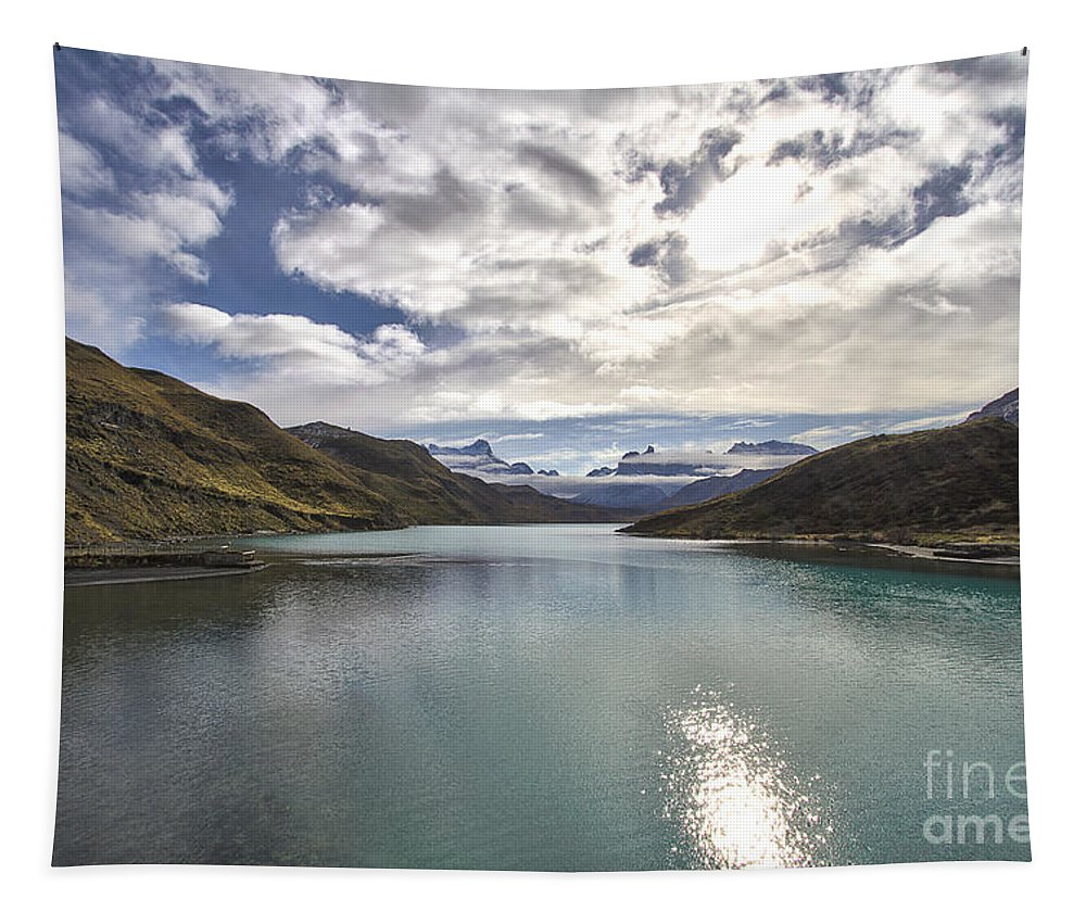 Nature Tapestry featuring the photograph Crisped Lake by Mirko Chianucci