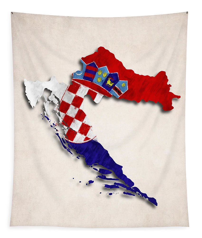 Croatia Tapestry featuring the digital art Croatia Map Art With Flag Design by World Art Prints And Designs