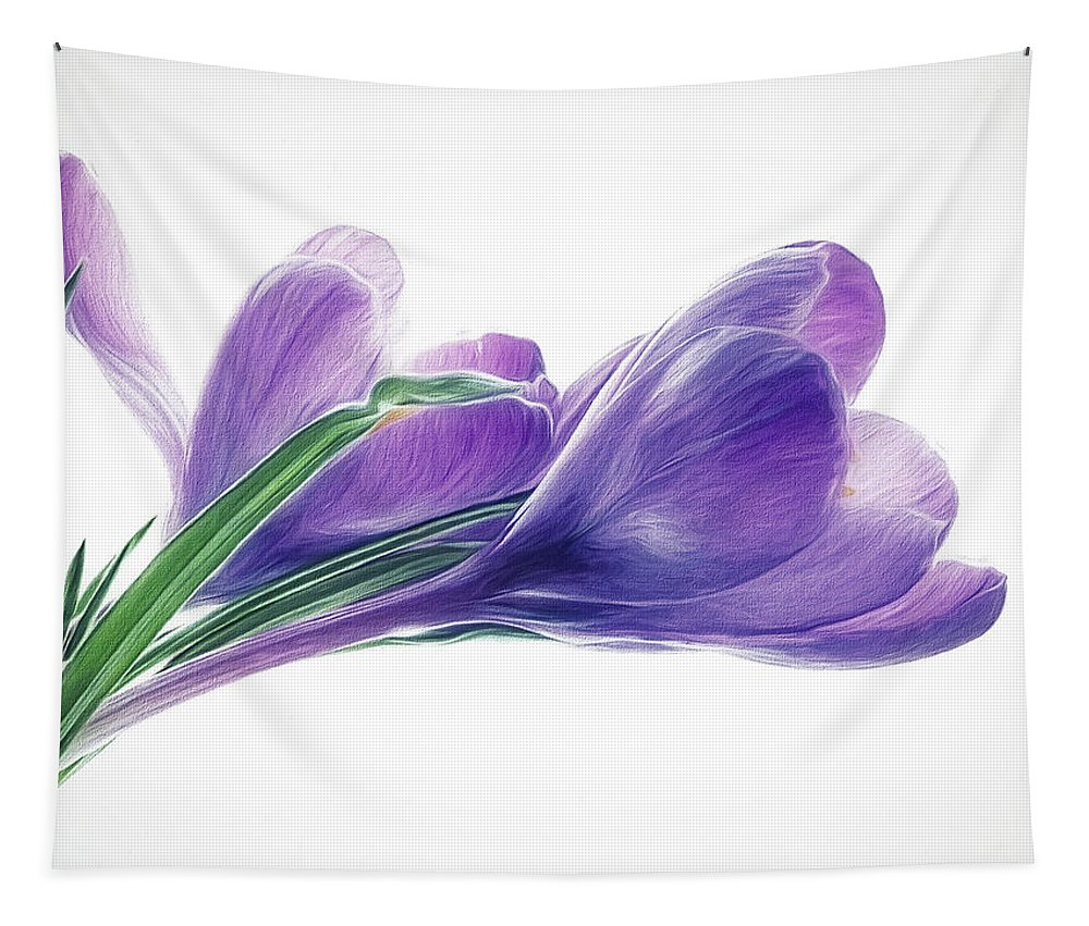 Crocuses Tapestry featuring the photograph Crocuses - Impressions by Susie Peek