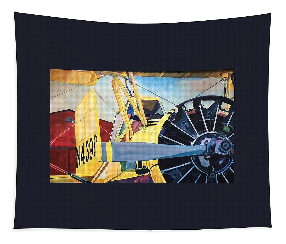 Steve Tapestry featuring the painting Crop Duster 93 by Steven Ward