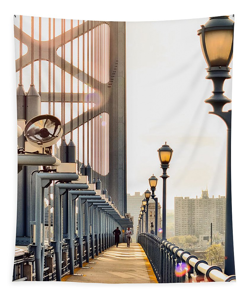 Crossing Tapestry featuring the photograph Crossing The Benjamin Franklin Bridge by Bill Cannon