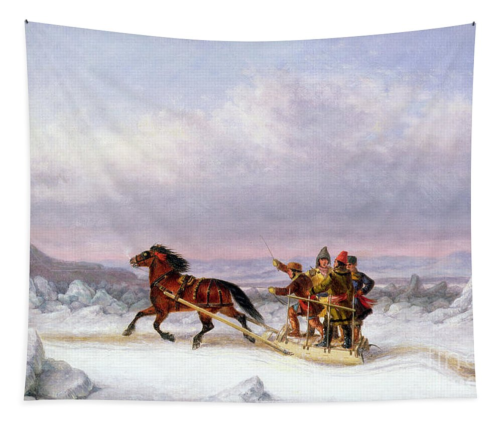 Crossing Tapestry featuring the painting Crossing The Saint Lawrence From Levis To Quebec On A Sleigh by Cornelius Krieghoff