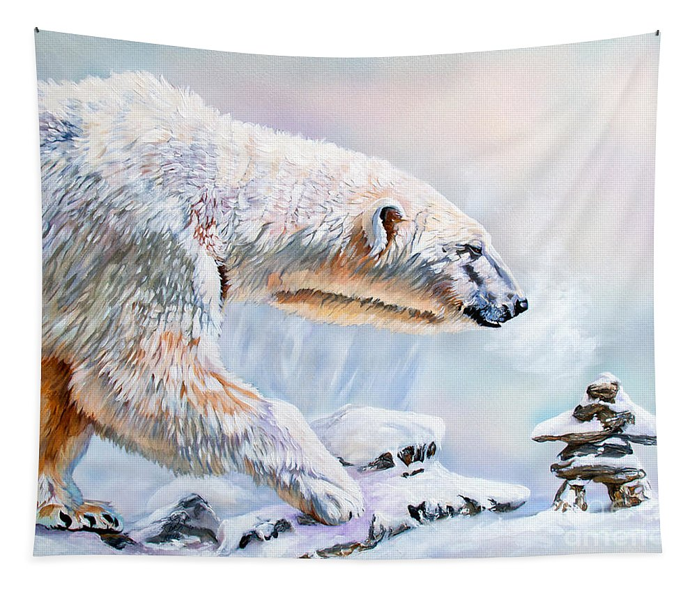 Polar Bear Tapestry featuring the painting Crossroads by J W Baker