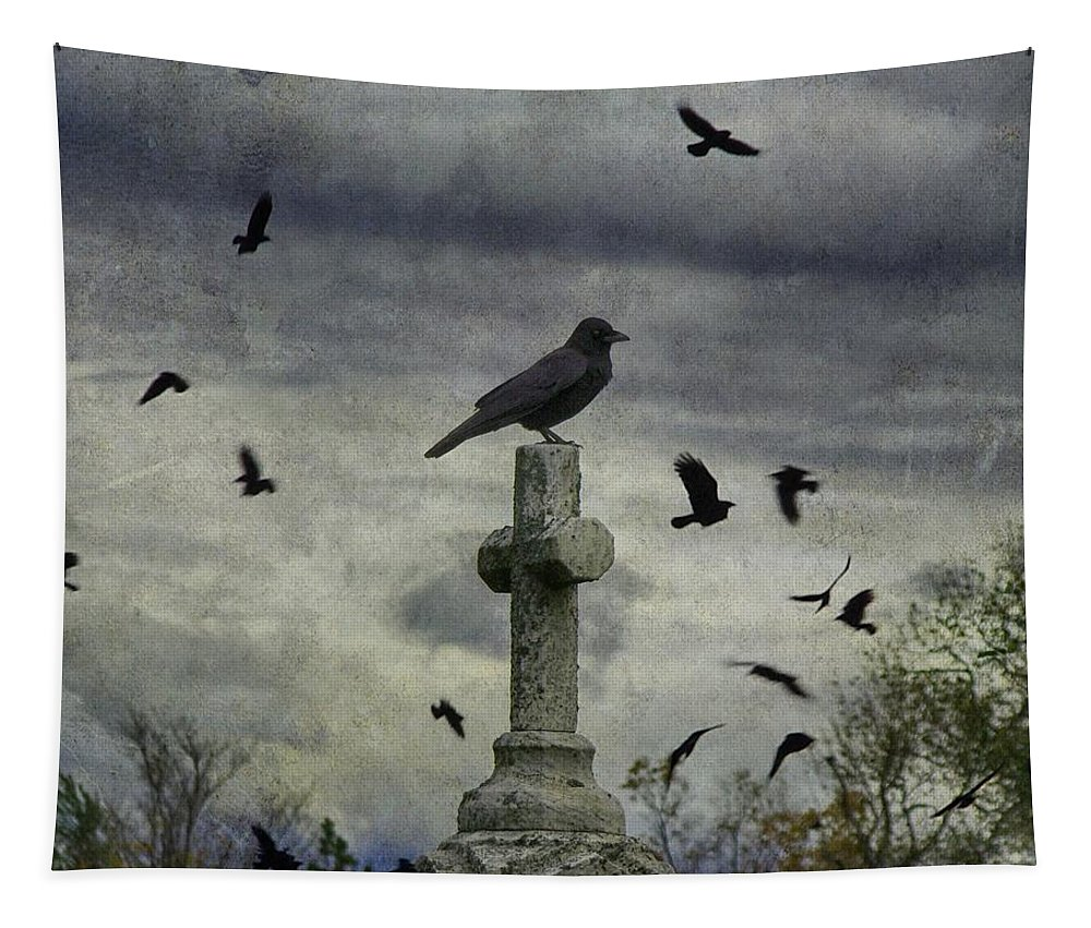 Crow Art Tapestry featuring the photograph Crow Keeps Her Perch by Gothicrow Images
