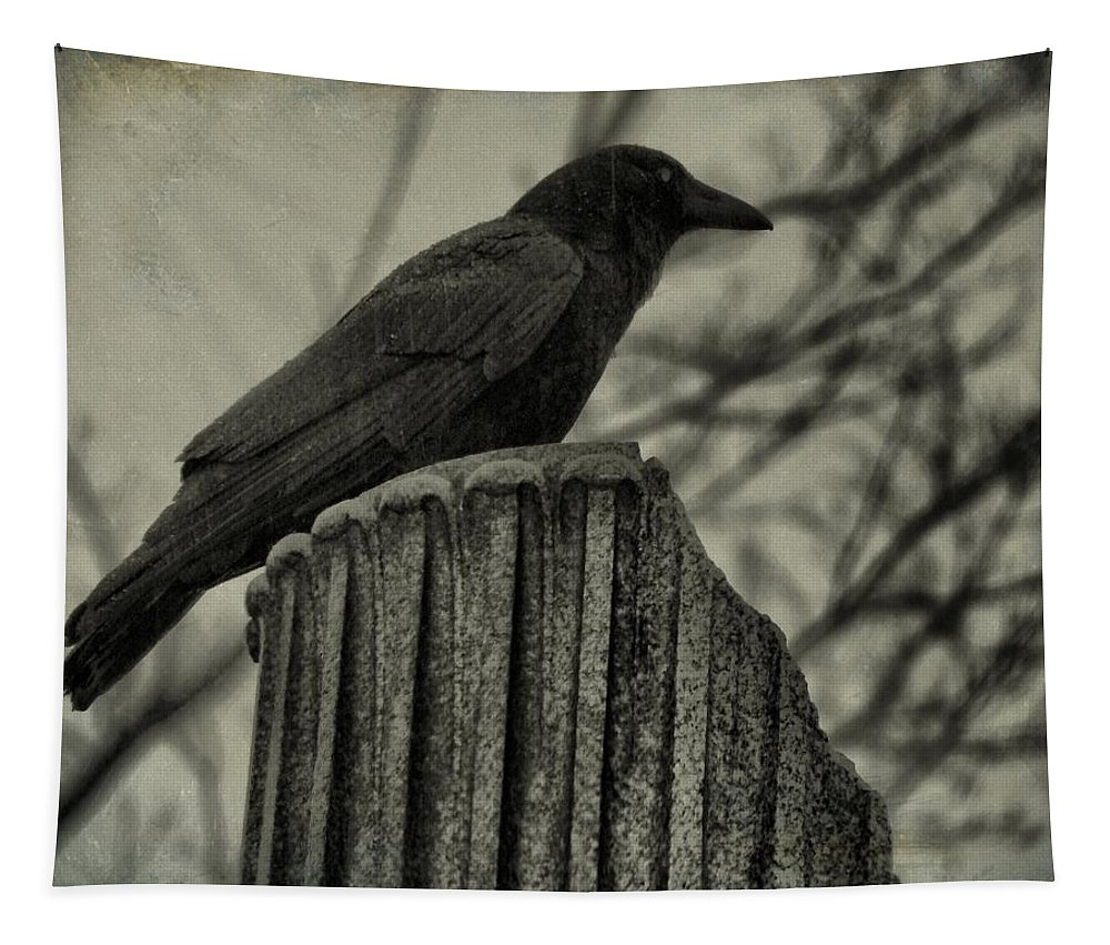Crow Tapestry featuring the photograph Crow Perched On A Old Column In Rain by Gothicrow Images
