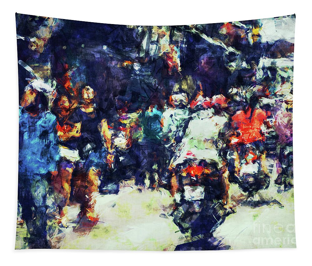 Digital Painting Tapestry featuring the digital art Crowded Street by Phil Perkins