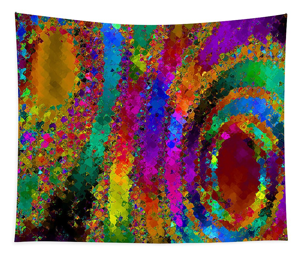 Abstract Tapestry featuring the digital art Crown Jewels by Ruth Palmer