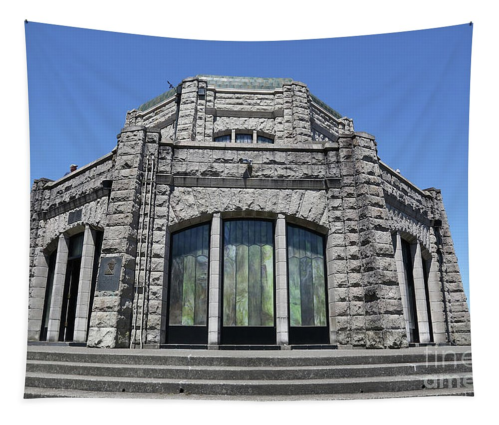 Crown Point Tapestry featuring the photograph Crown Point Vista House by Carol Groenen