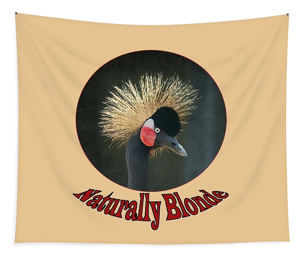 Crowned Crane Tapestry featuring the photograph Crowned Crane - Naturally Blonde - Transparent by Nikolyn McDonald