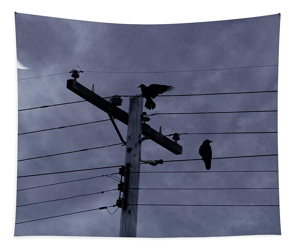 Crows Tapestry featuring the photograph Crows And A Crescent Moon by Gothicrow Images