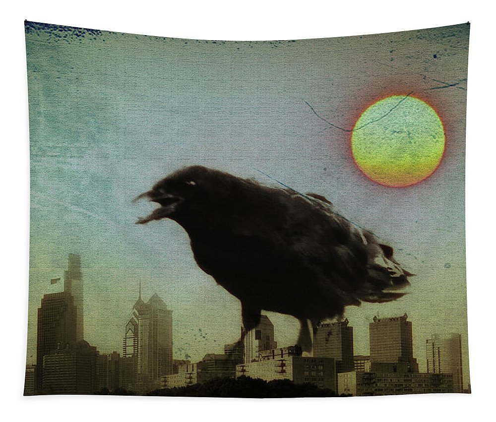 Crow Tapestry featuring the photograph Crowzilla by Bill Cannon