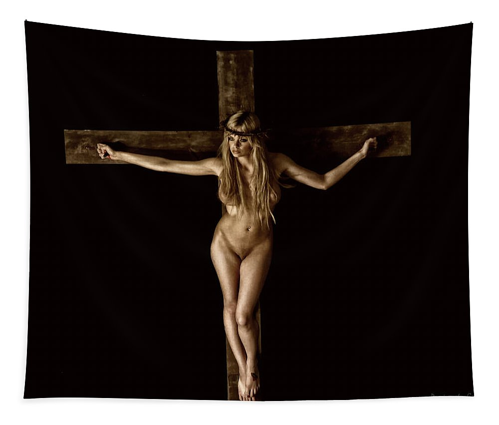Sepia Tapestry featuring the digital art Crucifix In Painted Sepia I by Ramon Martinez