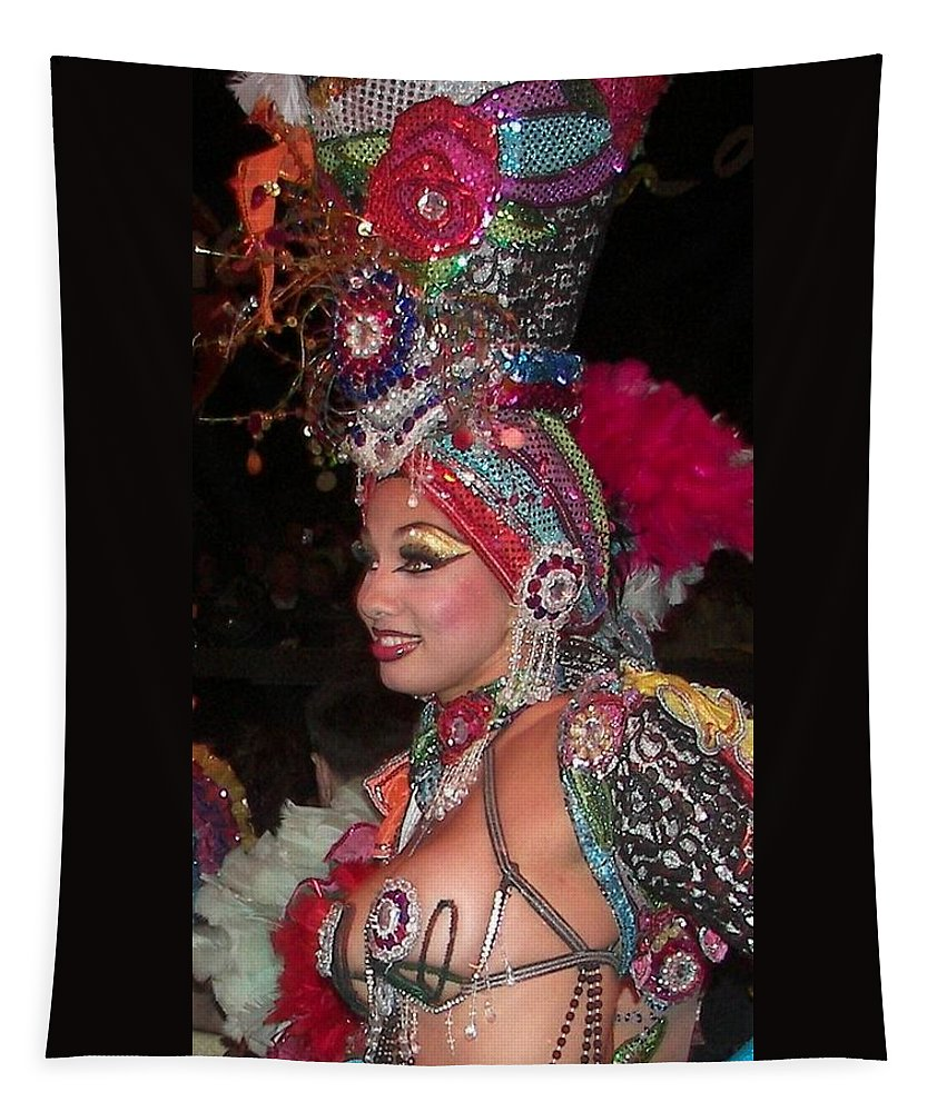 Cuba Tapestry featuring the photograph Cuban Tropicana Dancer by Karen Wiles
