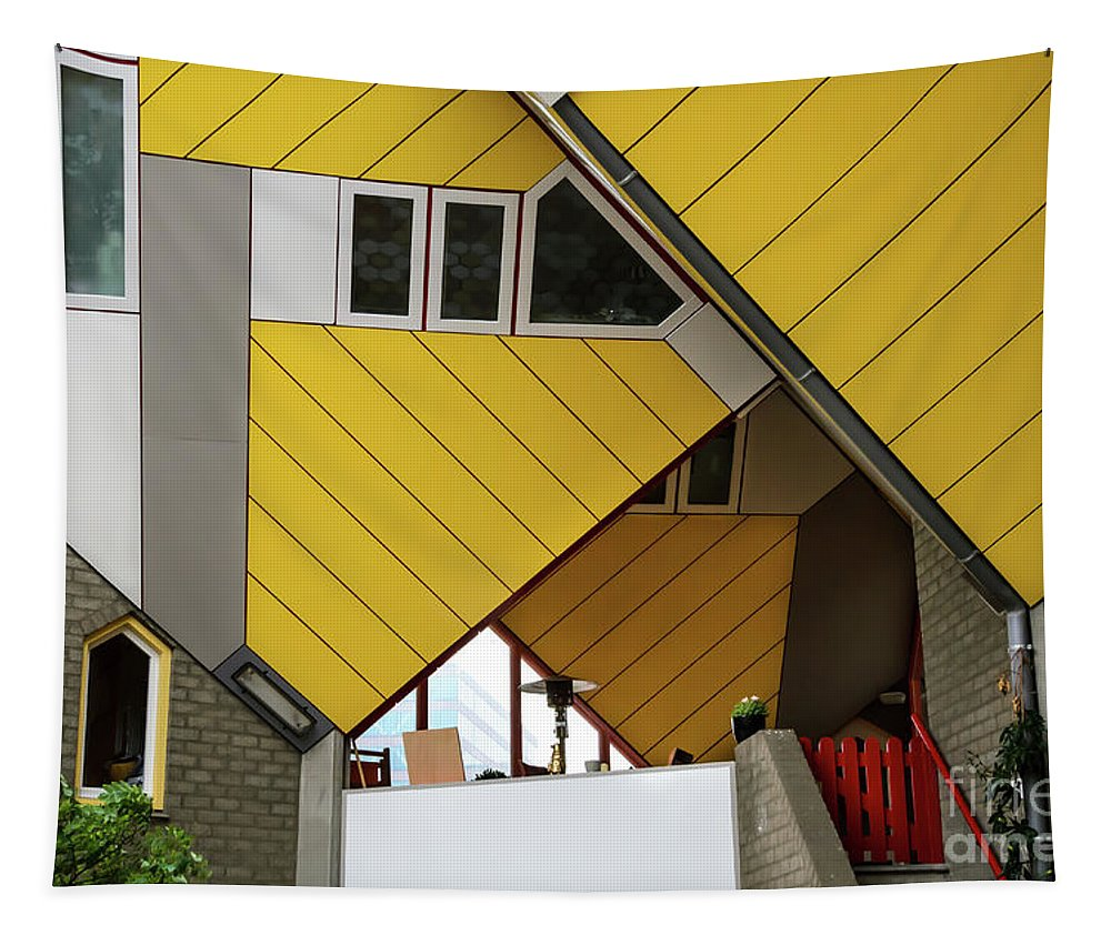 Rotterdam Tapestry featuring the photograph Cube Houses Detail In Rotterdam by RicardMN Photography