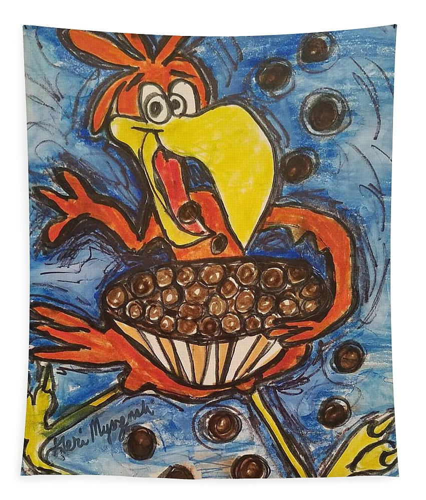 Cuckoo For Cocoa Puffs Tapestry featuring the painting Cuckoo For Cocoa Puffs by Geraldine Myszenski