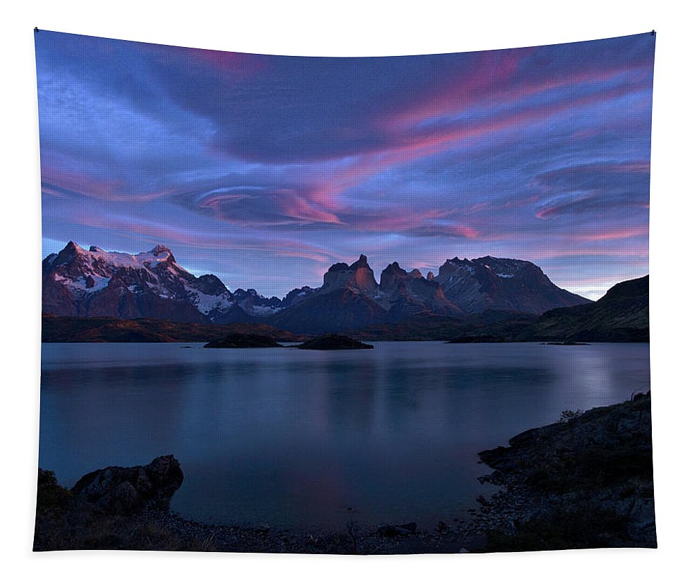 Patagonia Tapestry featuring the photograph Cuernos Sunrise Part 1 - Chile by Stuart Litoff