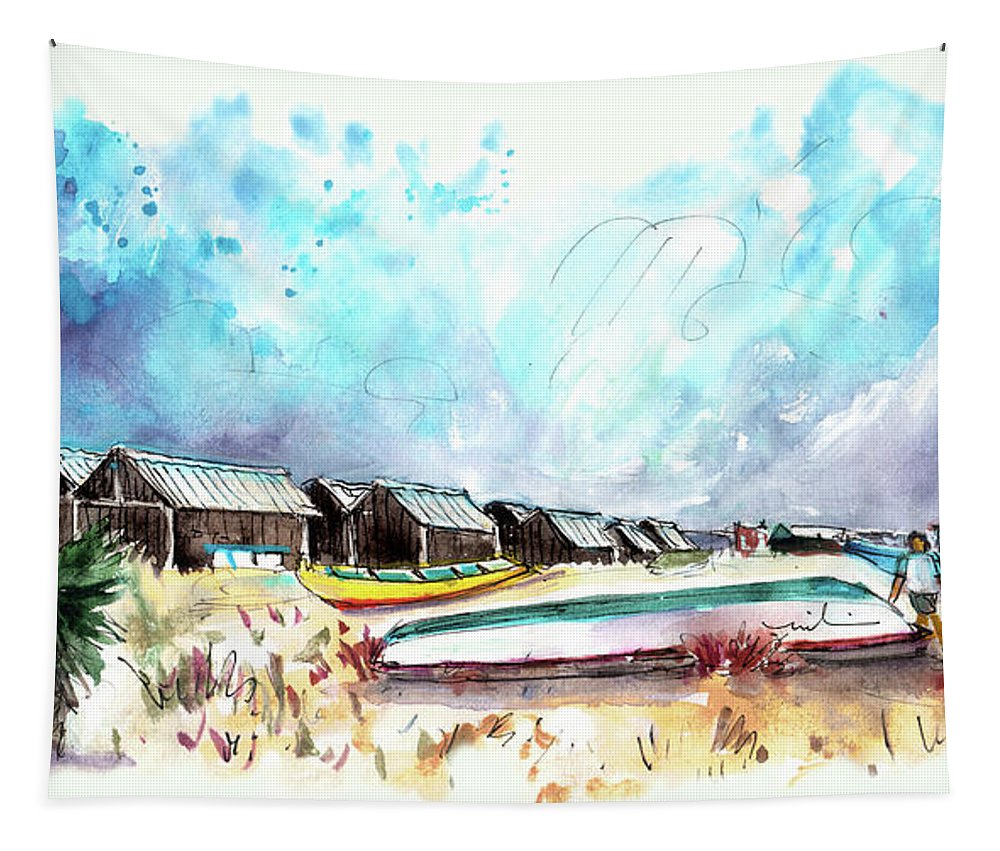 Travel Tapestry featuring the painting Culatra Island 07 by Miki De Goodaboom