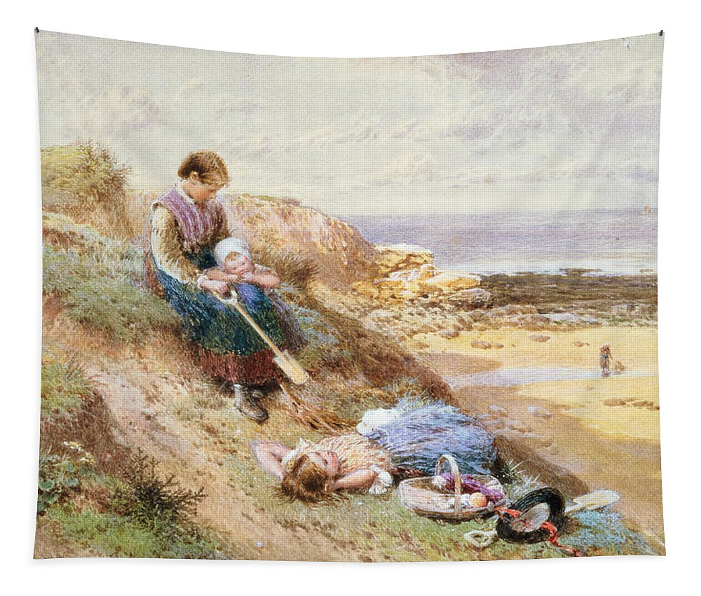 Children Tapestry featuring the painting Cullercoats by Myles Birket Foster
