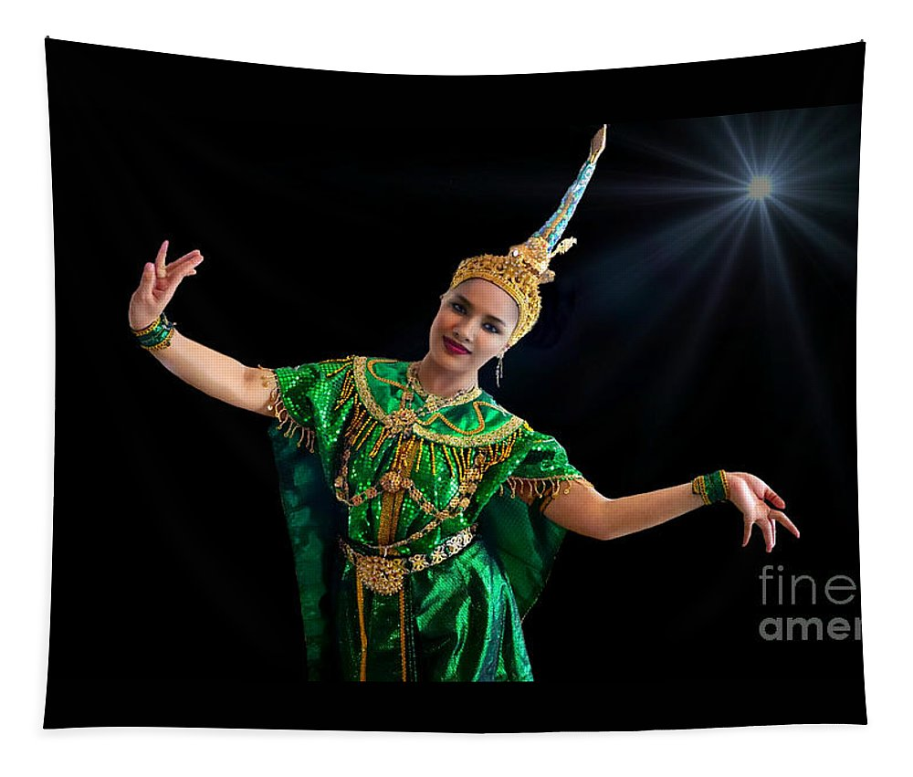 Thailand Tapestry featuring the digital art Cultural Thai Dance by Ian Gledhill