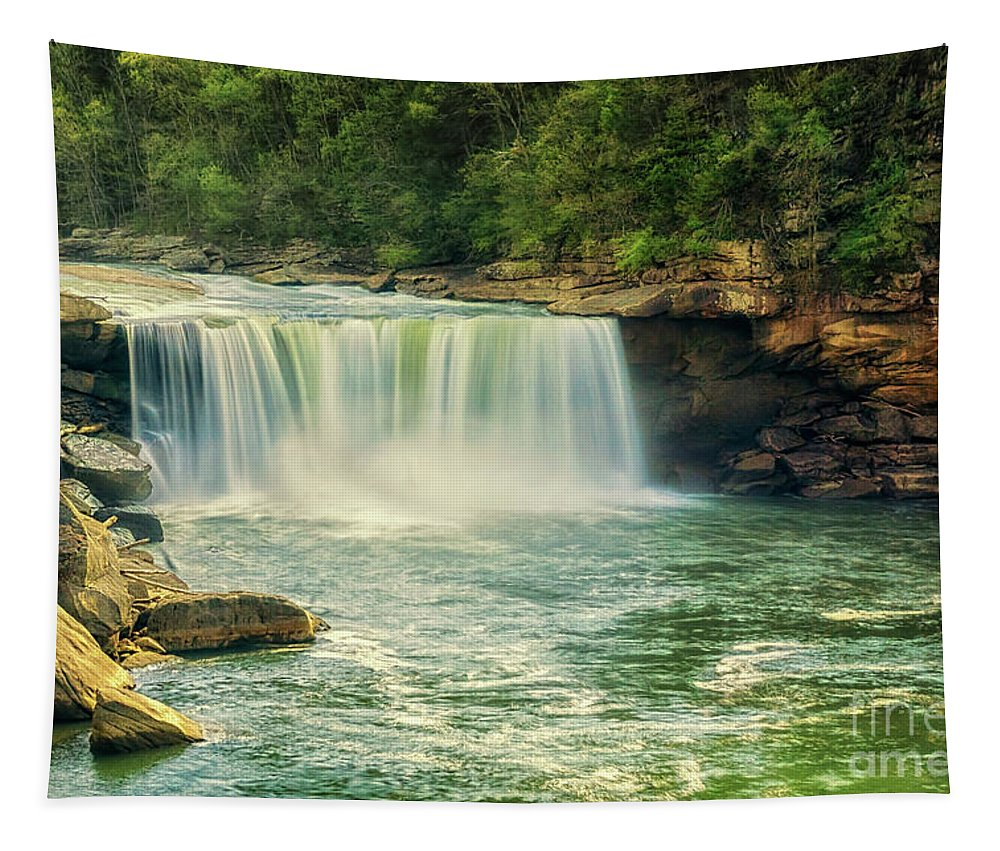 Cumberland Falls Tapestry featuring the photograph Cumberland Falls by Priscilla Burgers