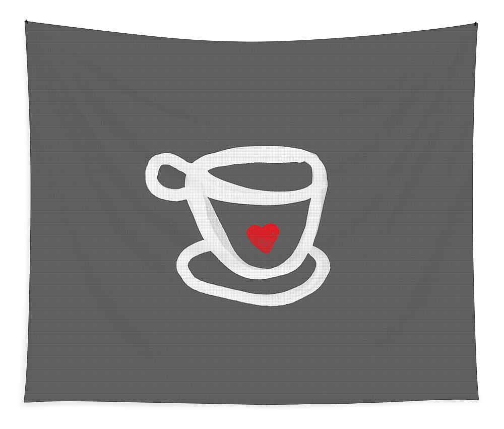 Coffee Tapestry featuring the painting Cup of Love- Shirt by Linda Woods