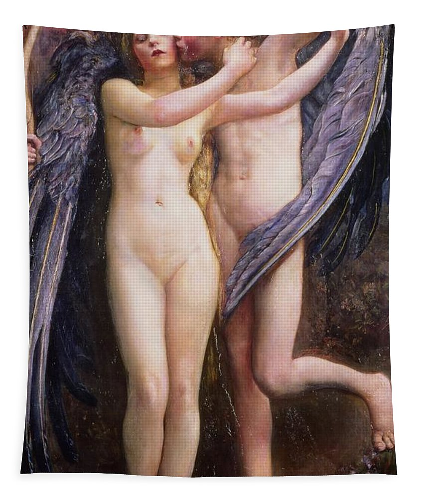 Cupid And Psyche Tapestry featuring the painting Cupid And Psyche by Annie Louisa Swynnerton