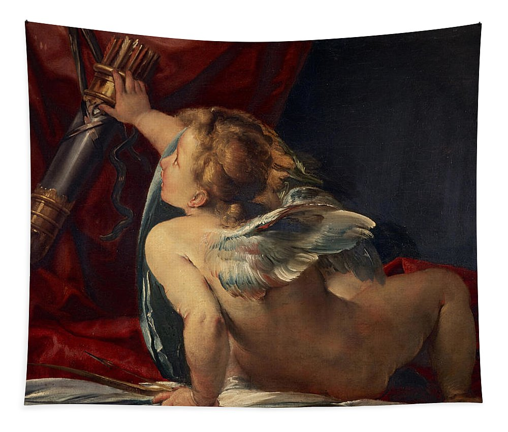 Giulio Tapestry featuring the painting Cupid by Giulio Cesare Procaccini
