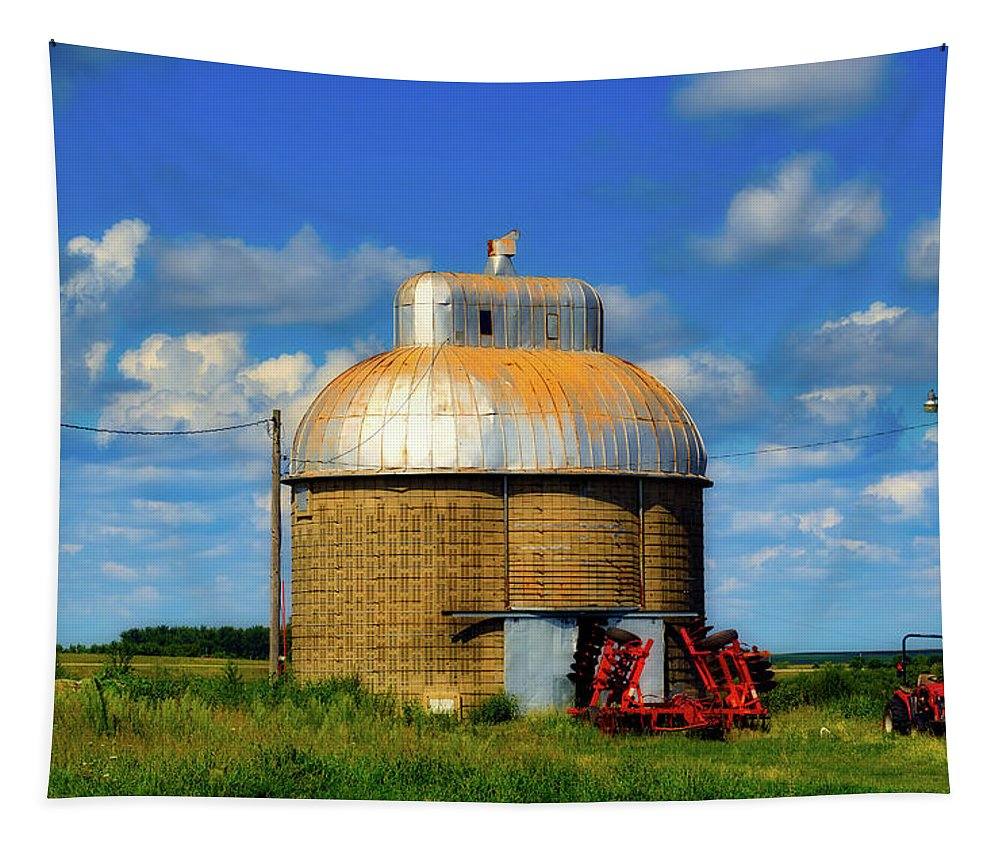 Cupola Tapestry featuring the photograph Cupola Grain Silo - Iowa by Mountain Dreams