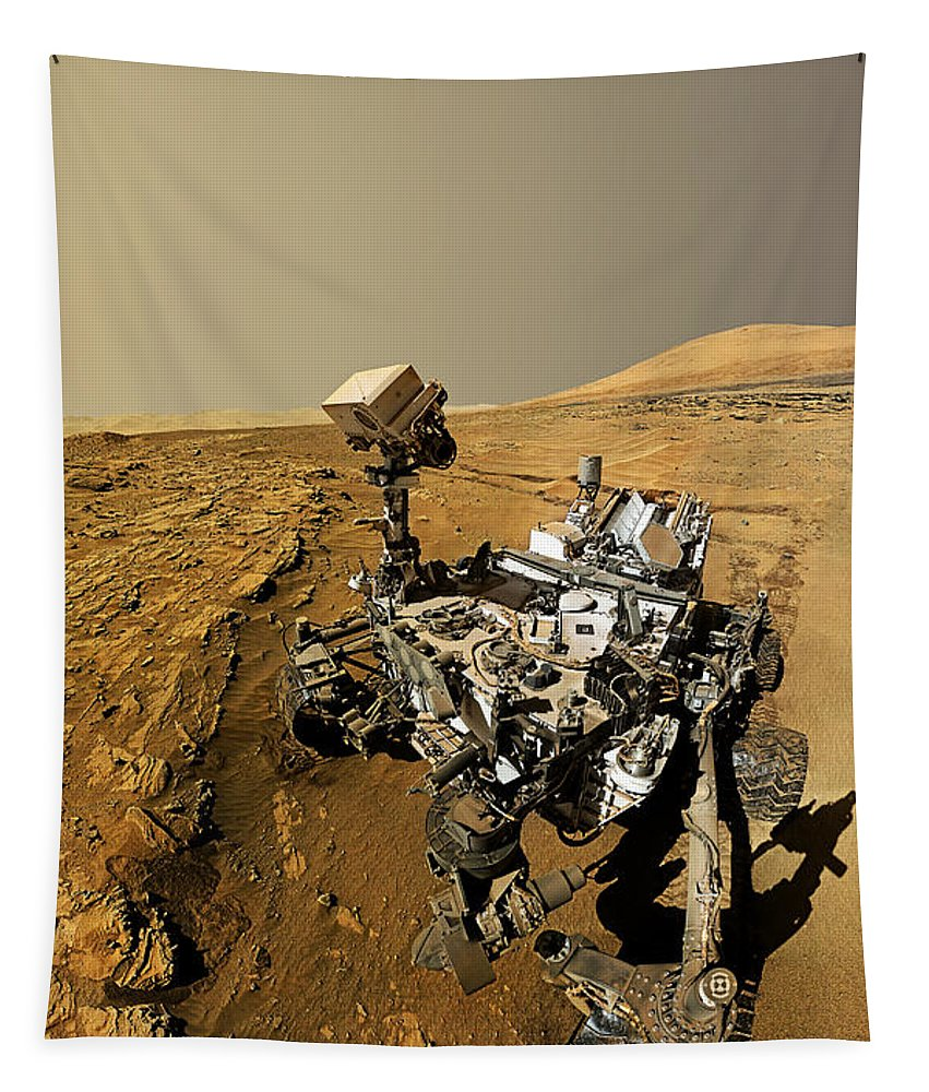 Curiosity Mars Rover Tapestry featuring the photograph Curiosity Self-portrait At Windjana Drilling Site by Weston Westmoreland