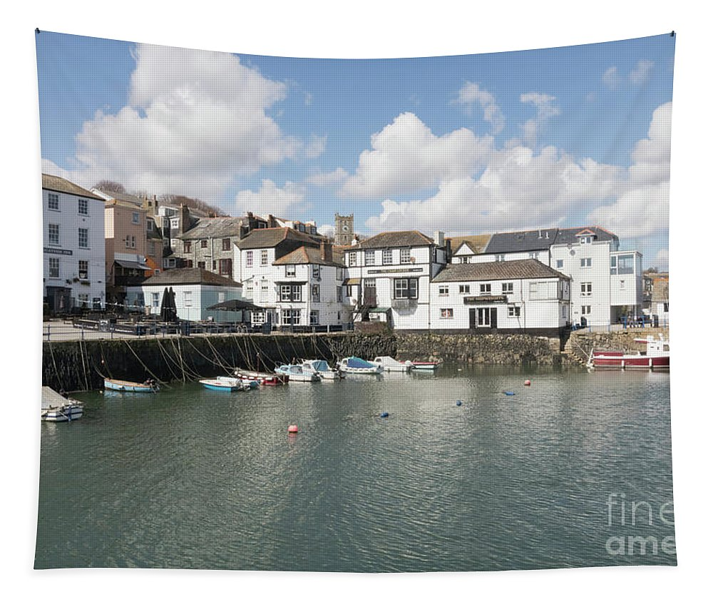 Falmouth Tapestry featuring the photograph Custom House Quay And Falmouth Parish Church by Terri Waters