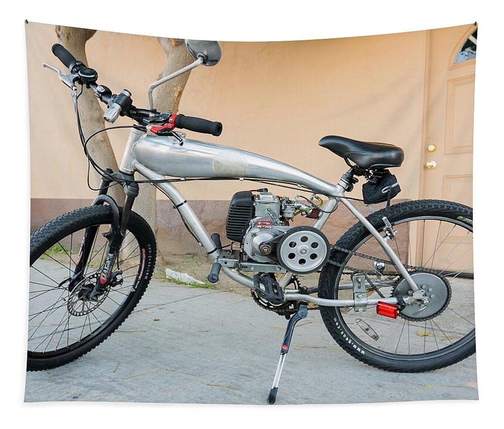 Bicycle Tapestry featuring the photograph Custom Made Motor Bike by Robert VanDerWal