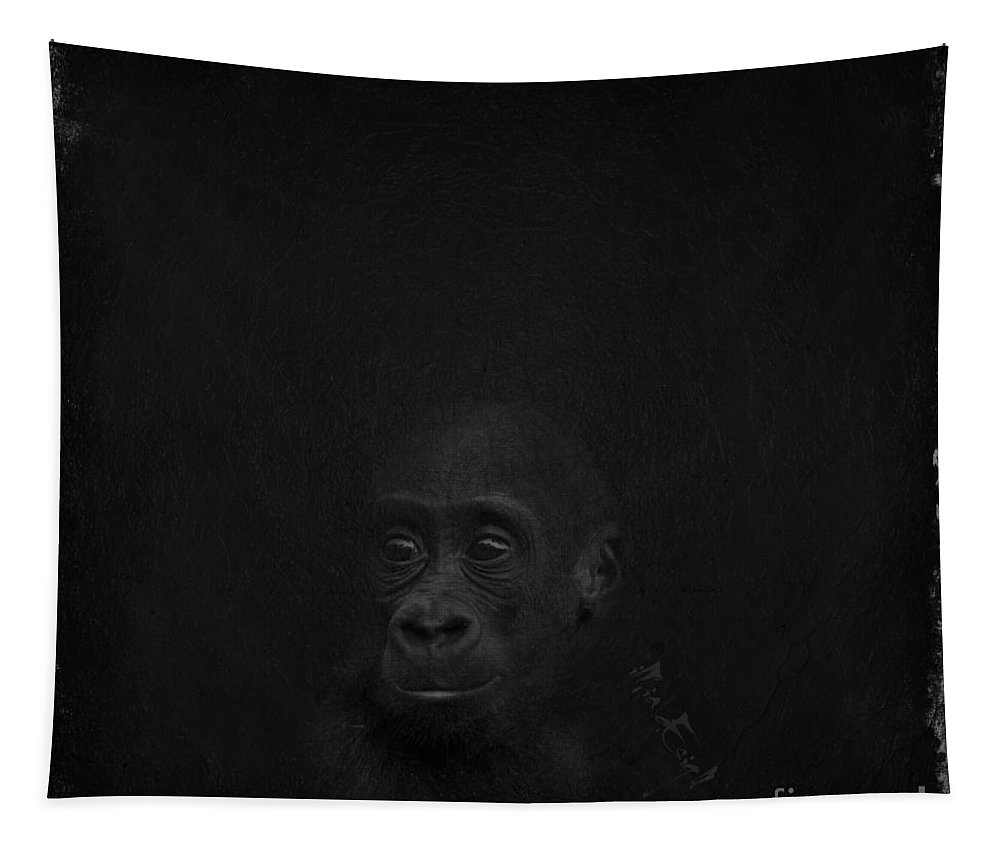Imia Design Tapestry featuring the digital art Cute Gorilla Baby by Maria Astedt