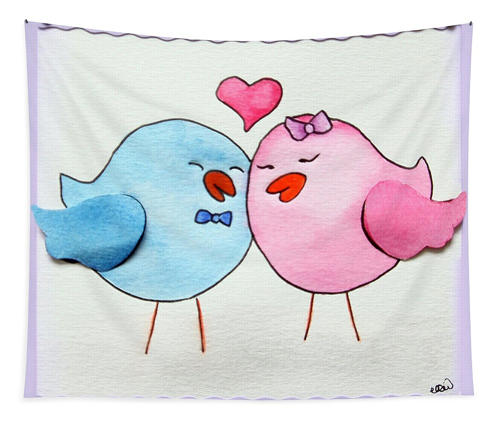 Simple Tapestry featuring the painting Cute Lovebirds Watercolour by Terri Waters