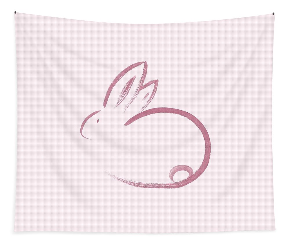 Bunny Tapestry featuring the painting Cute Pink Bunny Rabbit, Oriental Zen Style Illustration by Awen Fine Art Prints
