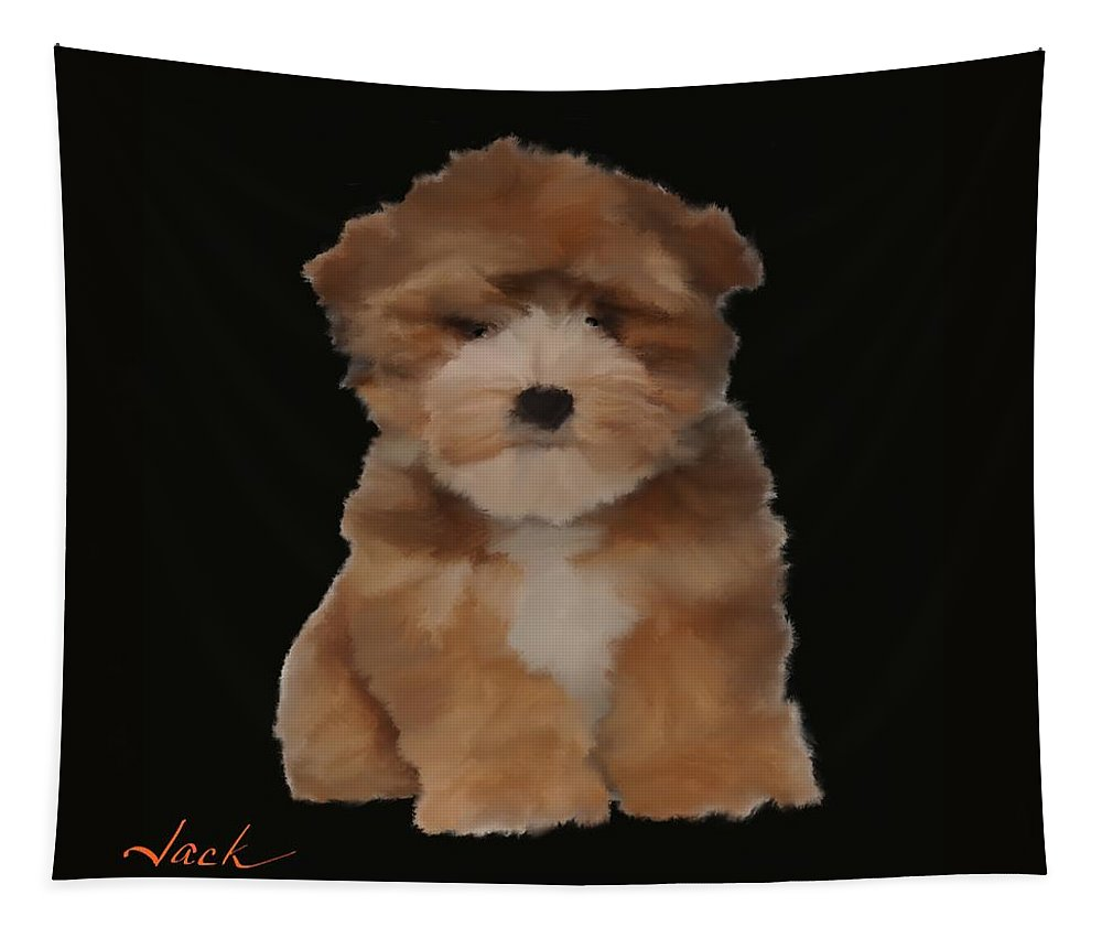 Tapestry featuring the digital art Cute Puppy by Jack Bunds