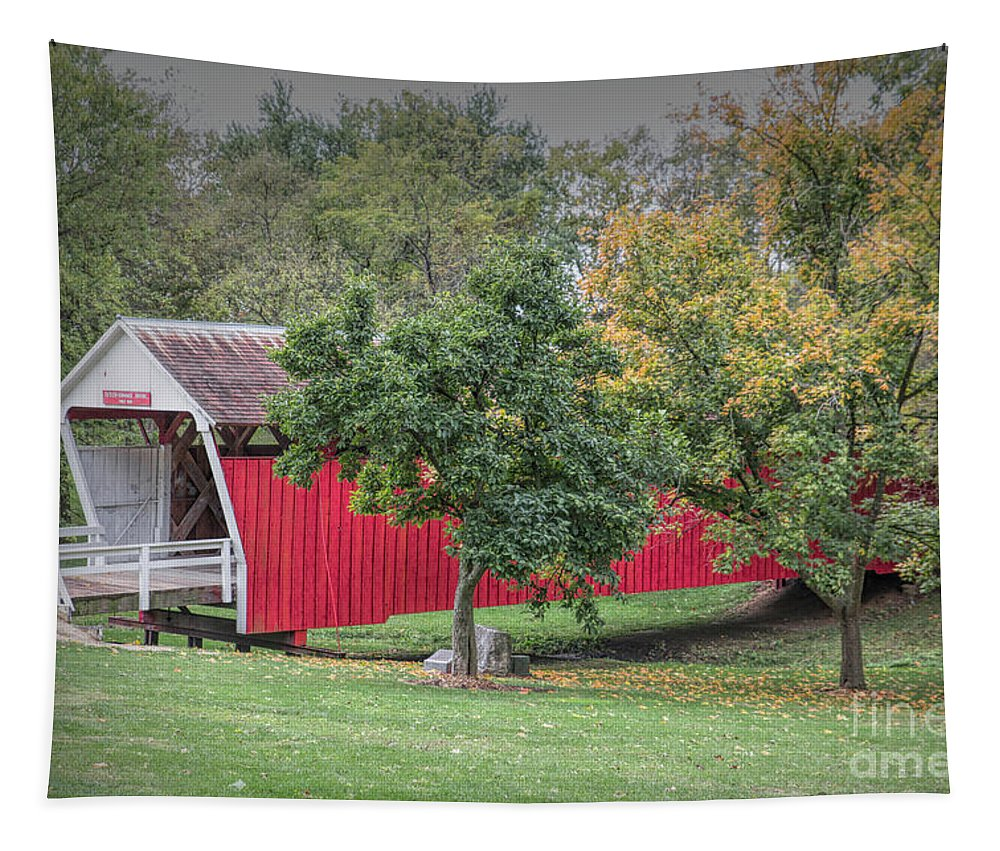 Cutler-donahoe Covered Bridge Tapestry featuring the photograph Cutler-donahoe Covered Bridge by Lynn Sprowl