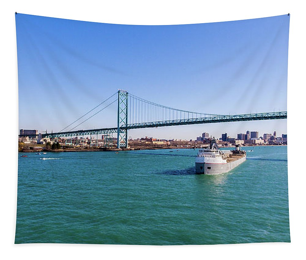 Christopher List Tapestry featuring the photograph Cuyahoga Downbound At Detroit by Gales Of November