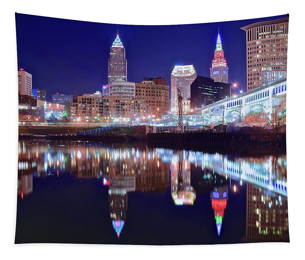 Cleveland Tapestry featuring the photograph Cuyahoga Reflecting The City Above by Frozen in Time Fine Art Photography