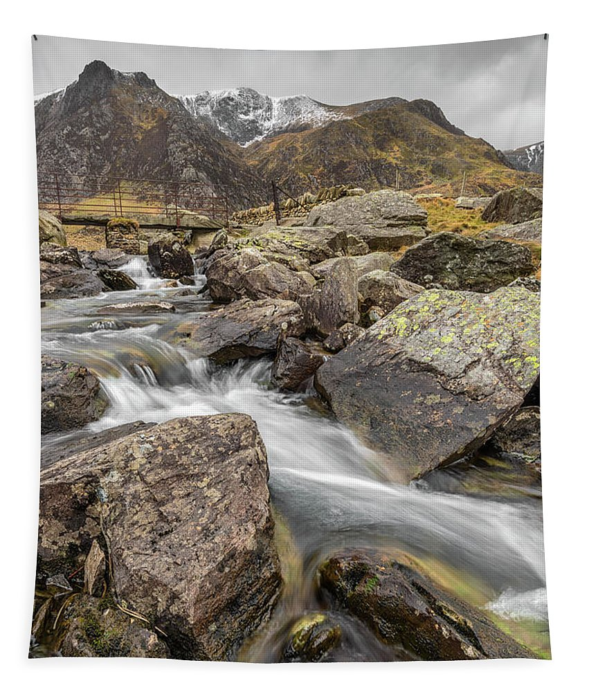 Snowcapped Tapestry featuring the photograph Cwm Idwal Rapids by Adrian Evans