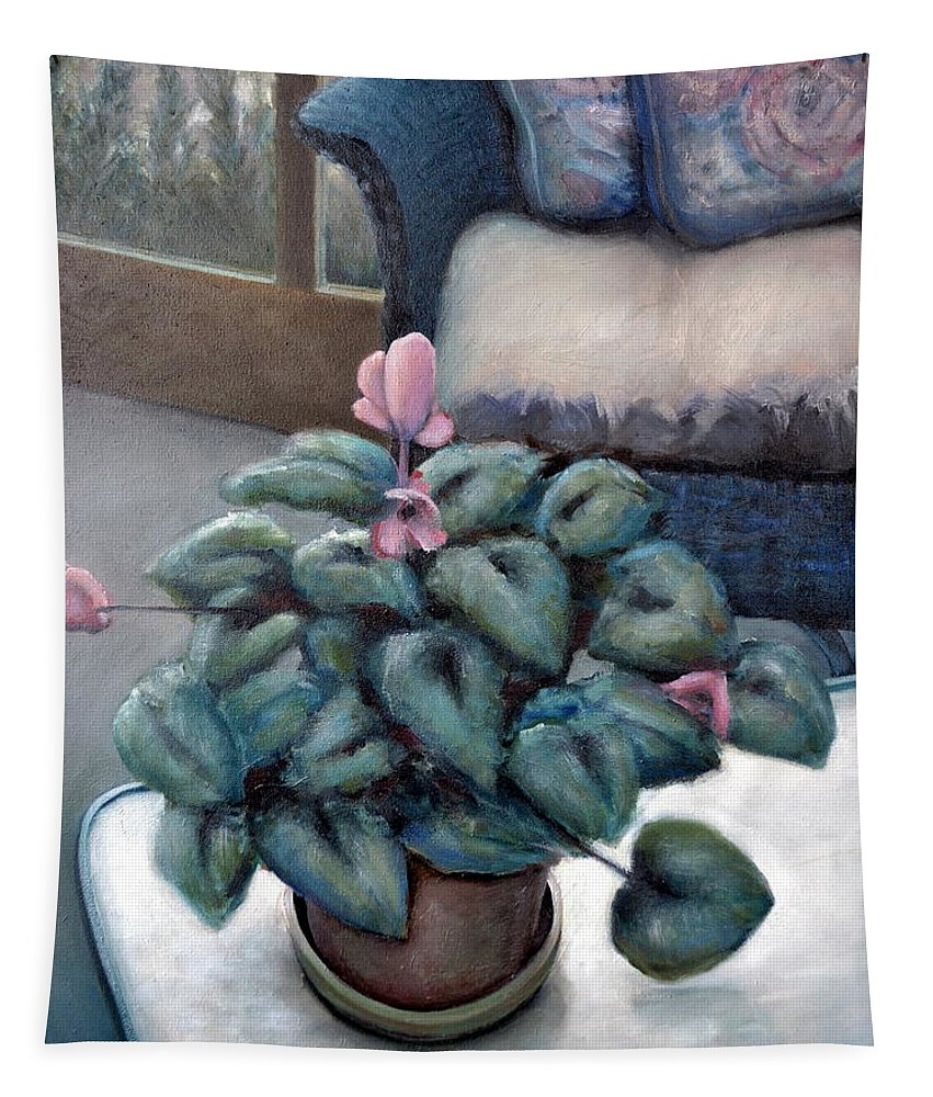 Cyclamen Tapestry featuring the painting Cyclamen And Wicker by Michelle Calkins