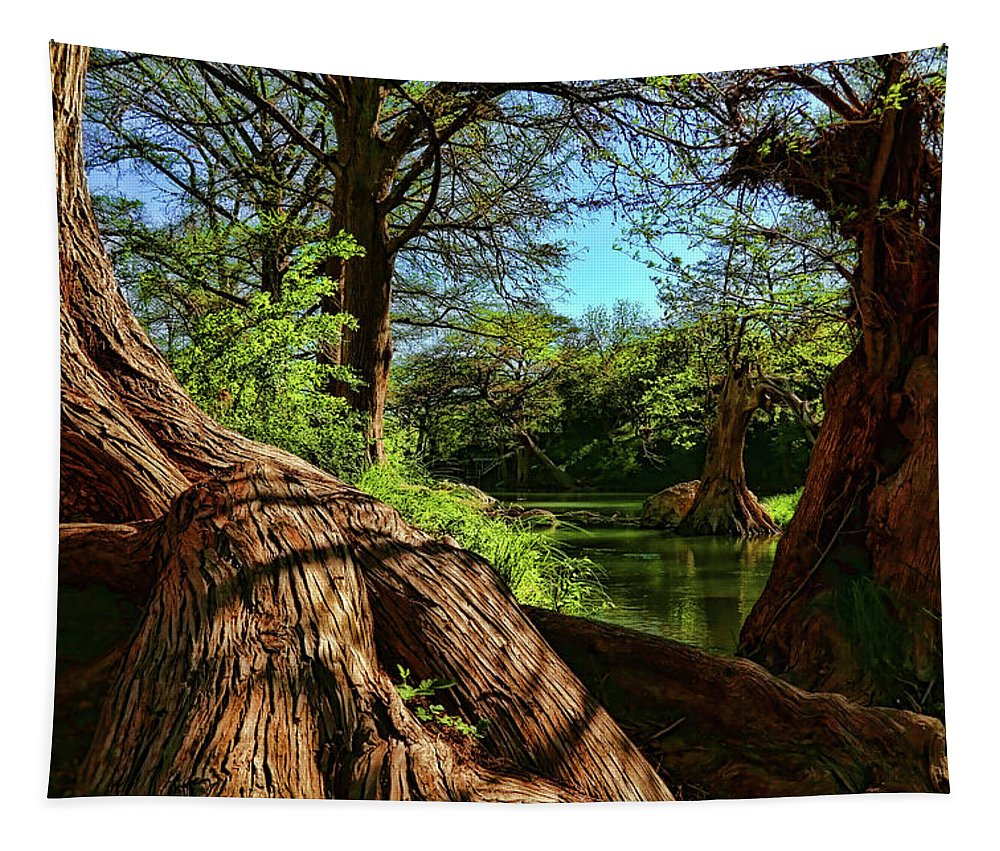 Cypress Bend Park Tapestry featuring the photograph Cypress Bend Park In New Braunfels by Judy Vincent