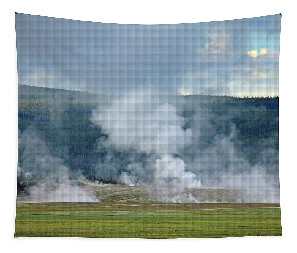 Steam Vents Tapestry featuring the photograph D09125 Steam Vents Near Midway Geyser Basin by Ed Cooper Photography